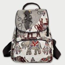 купить 2018 India Elephant Embroidered Backpack Canvas Chinese Ethnic Embroidery Shoulder Bag Travel Rucksack Schoolbag Backbag Mochila по цене 1658.89 рублей