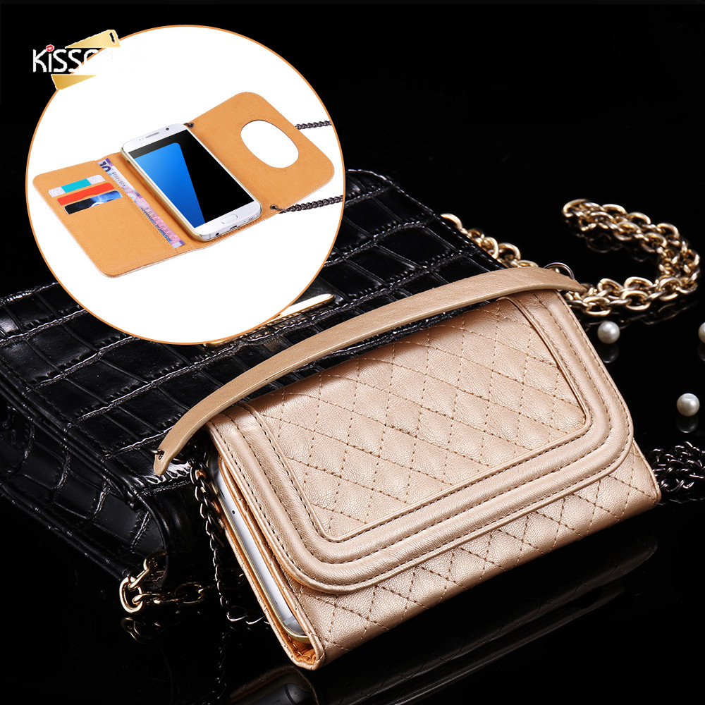 Galleria fotografica KISSCASE Mirror Wallet Case For Samsung Galaxy S7 S7 Edge Chain Bag Pouch Cover For Samsung Galaxy S7 Edge PU Leather Case Coque