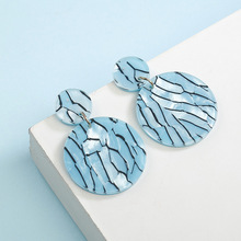 New Marble Pattern Round Acrylic Earrings for Women Double Layers Resin Round Drop Earing Korean Earrings Fashion Jewelry 2019