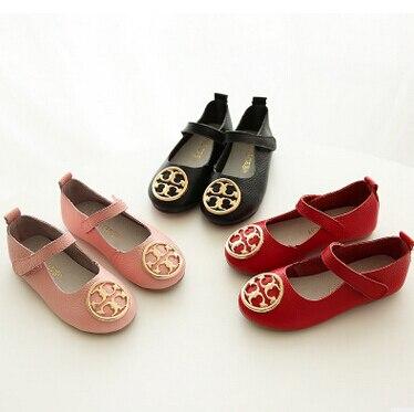 2016 Весной и осенью дети натуральная кожа вокруг пальца обувь одного обувь для девочек резиновые мягкой подошвой обуви