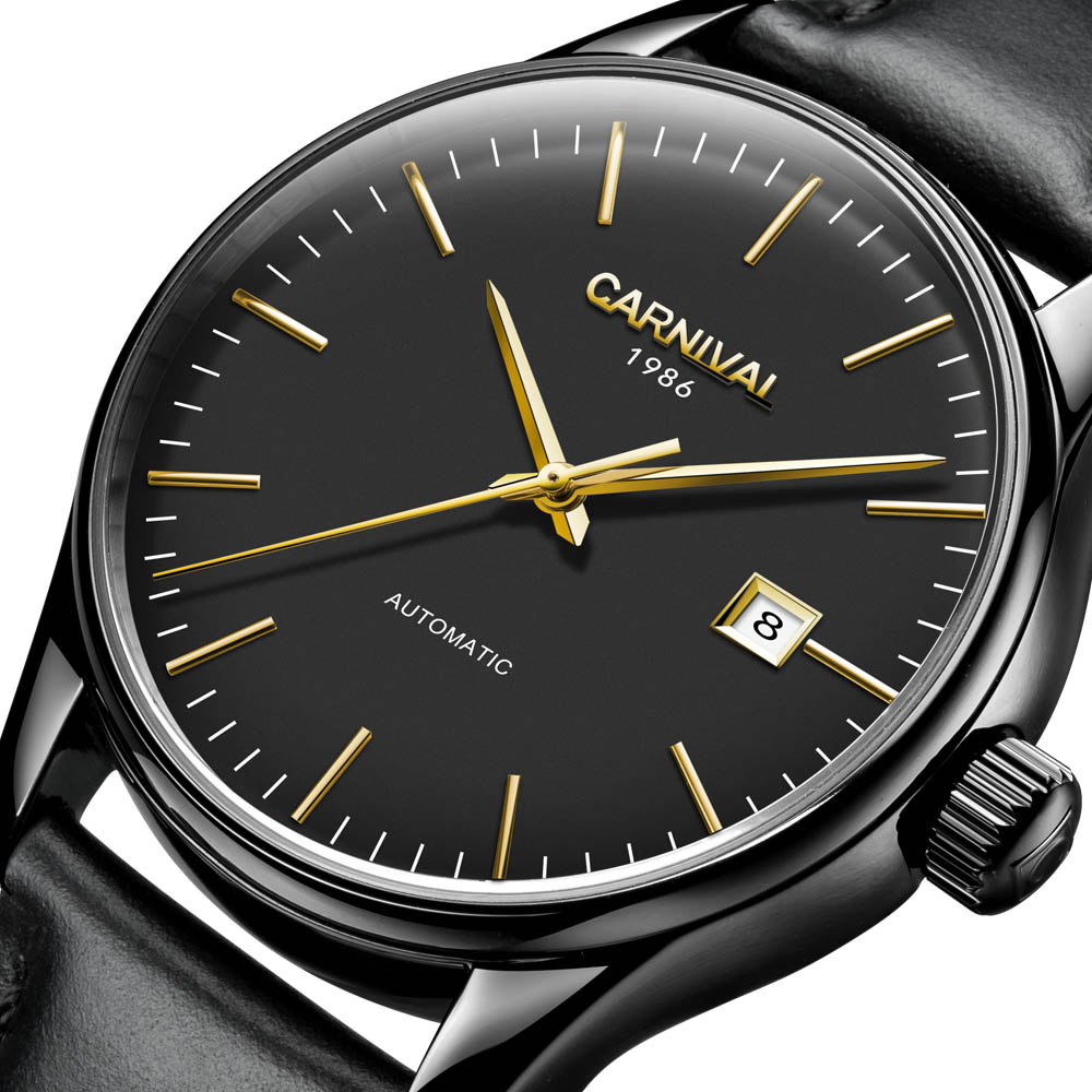 где купить Automatic Self-Wind Men Business Fashion Simple Watches Sapphire mirror Leather strap Black Dial  Mechanical Clock 2017 New по лучшей цене
