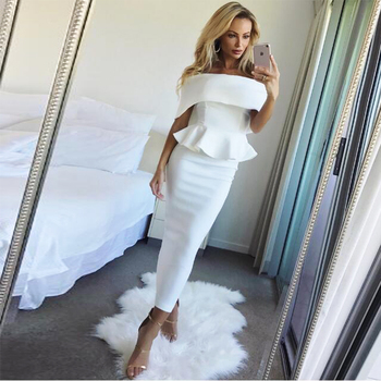 Summer Dress Romantic Bodycon White Runway Dresses 2017 Women High Quality Off-Shoulder Sleeveless Ruffles Party Dresses S-3XL invisible bra