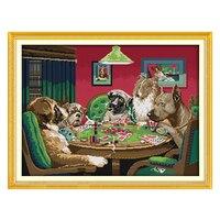 Joy sunday çin crossstitch kitleri set köpeklerin oyunu hayvan dmc14ct 11 ctcottonfabric bebek odası ev dekorasyon boyama toptan