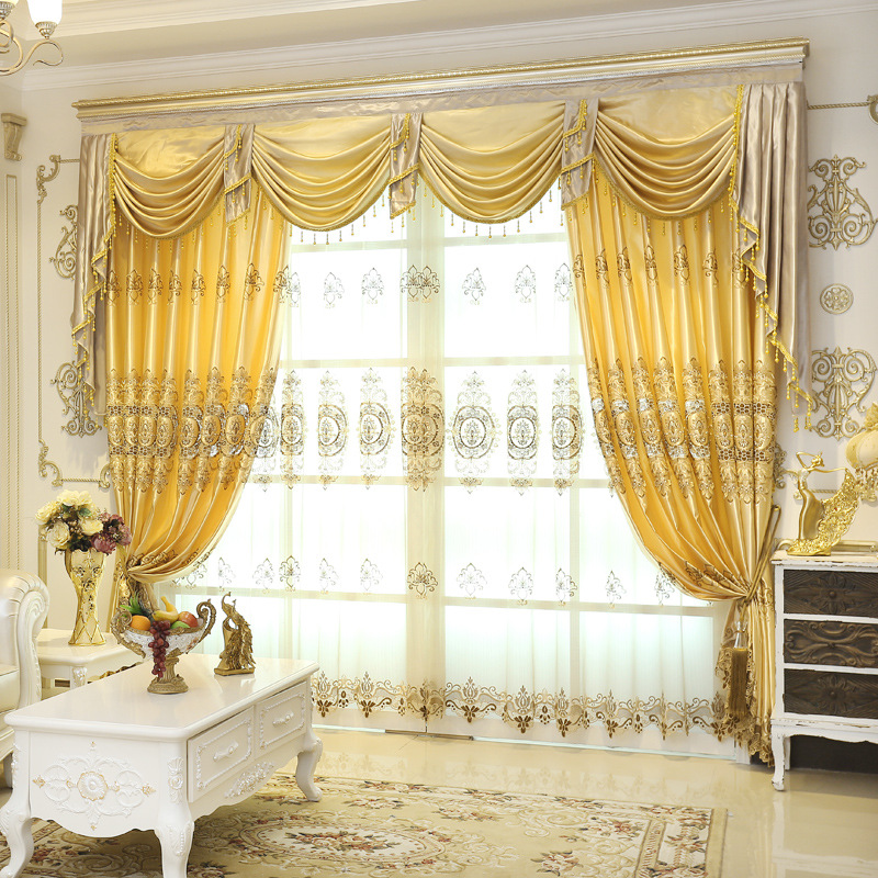 On S High Quatily Fashion Yellow Luxury Embroidered Sheers And Valance Curtain Cortain For Living Room In Curtains From Home Garden Aliexpress