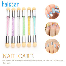 1pc HAICAR Practical Professional Glitter Powder Picking Dotting Gradient Pen Brush+Sponge Nail Art Tools Pretty Manicure Tools