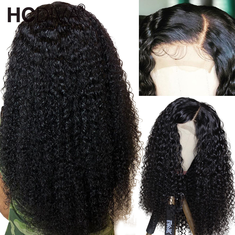 13 4 Lace Front Human Hair Wigs For Women Malaysian Afro Kinky Curly Wig 180 Remy