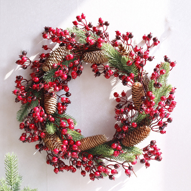 christmas wreath door decoration artificial foam berry wreath with natural pine cone pendant wall decoration free - How To Decorate Artificial Christmas Wreath