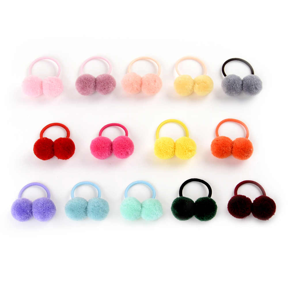 1 Pcs Fur Ball Elastic air ties Girls' Ponytail Holder Kids Rope Hair Band bows Hair Accessories with Lovely Girl 979