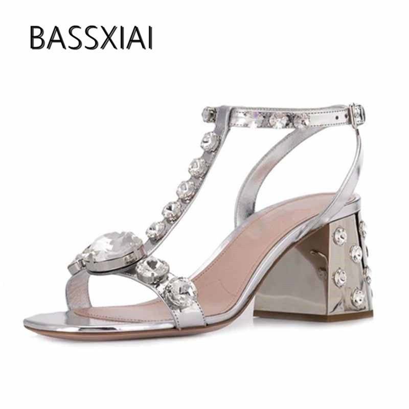 2019 Silver Leather Gladiator Sandals Women Open Toe Rhinestone Diamond T strap Chunky High Heel Shoes