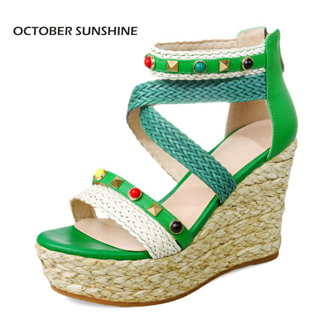 OCTOBER SUNSHINE Summer Women platform wedges Sandals High heels Woman Casual shoes Fashion rivet Roman gladiator shoes 2017 summer new rivet wedges sandals creepers women high heel platform casual shoes silver women gladiator sandals zapatos mujer
