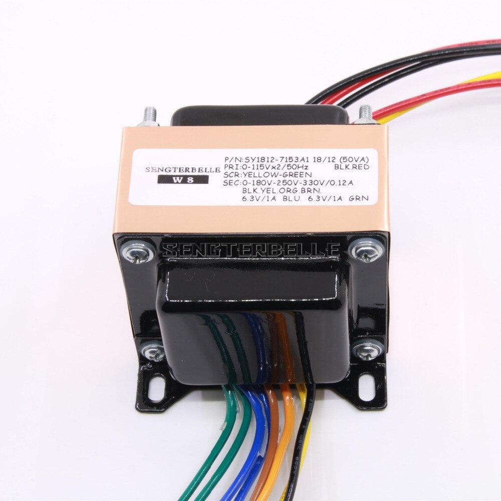 50VA Pure Copper Oxygen Free Copper EI Transformer 0-180V-250V-330V(120mA)0-6.3V(1A) 0-6.3V(1A) For Tube Amplifier