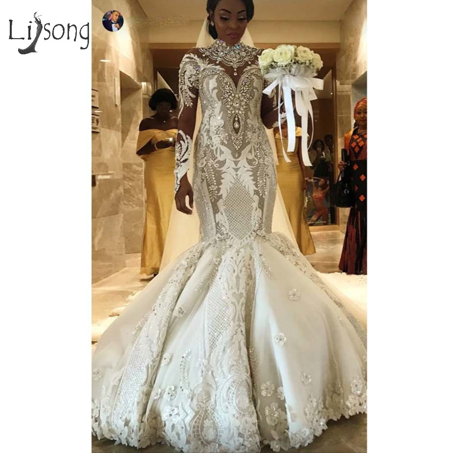 Casamento 2019 Aso Ebi Lace Mermaid Wedding Dresses Full Sleeves Luxury Crystal Bridal Gowns 3D Flower Vestido De Noiva