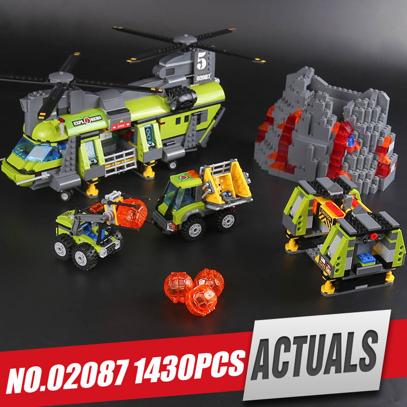 Lepin 02087 New City Series 1430Pcs The Volcano Heavy-Lift Helicopter Set 60125 Building Blocks Bricks Christmas New Year Gifts new lp2k series contactor lp2k06015 lp2k06015md lp2 k06015md 220v dc