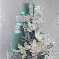 Mom Pea GX165 Free Shipping Leaf Silicone Lace Mold Big Size Cake Decoration Fondant Cake 3D