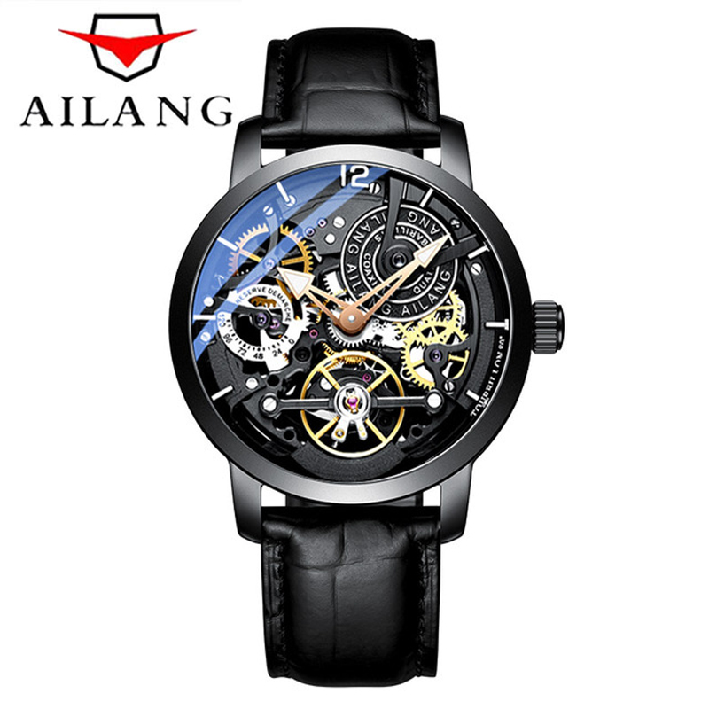 AILANG  Brand Men Automatic Watch Luxury Skeleton Mechanical Watches Men's Black Genuine Leather Clock Relogios Masculino 2019-in Mechanical Watches from Watches