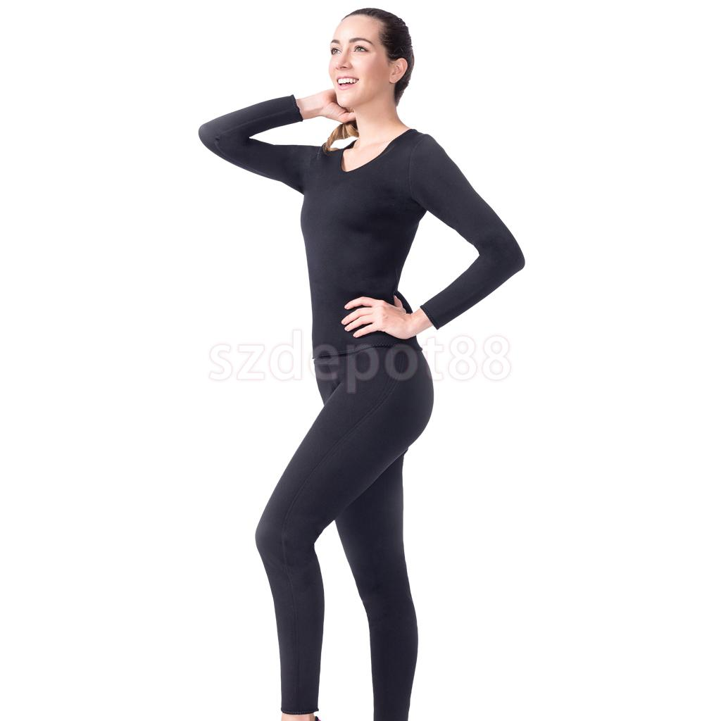 Womens Neoprene Slimming Long T-shirt Pants Fitness Sweat Sauna Body Set for Weight Loss