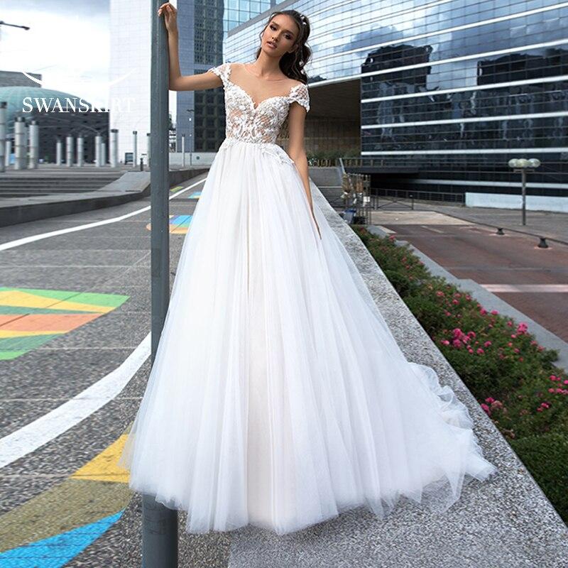 Jupe sexy belle Appliques casquette manches robe de mariée 2019 délicate froncé Tulle a-ligne princesse robe de mariée Vestido de Noiva F131