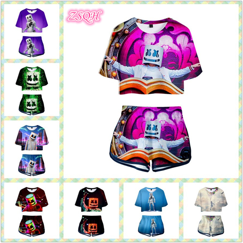 ZSQH DJ Marshmello Sexy T-Shirt shorts Sexy showing belly button Cosplay Costume For Women&girl Cute Marshmallow Skirts