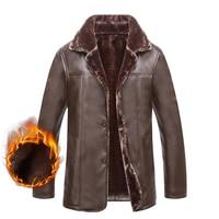 PU Leather Fur Jacket For Men Winter Warm Hot Thick Fleece Male Casual Windbreaker Outwear Coat Button Classic Brand Overcoat