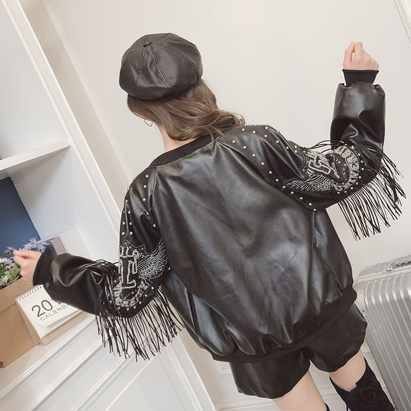 2020 Spring Autumn Tassel Rivet Short Biker Soft Pu Leather Jacket Women Print Long Sleeve Streetwear  Zippers Female Coats PY31