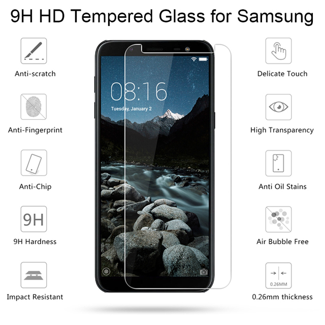 Tempered Glass for Samsung J6 Plus Phone Screen Protector Film for Galaxy Note 2 3 4 5 7 Protective Glass for Samsung J4 J8 2018