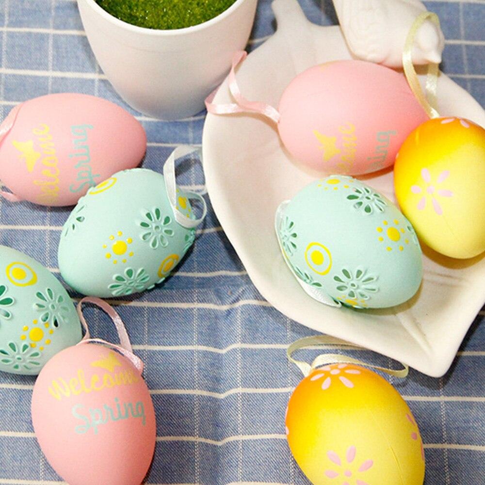 Easter DIY Egg Blow Molding Eggs Simulation Egg Hanging Holiday Gift Decoration Plastic Eggs Grid P5