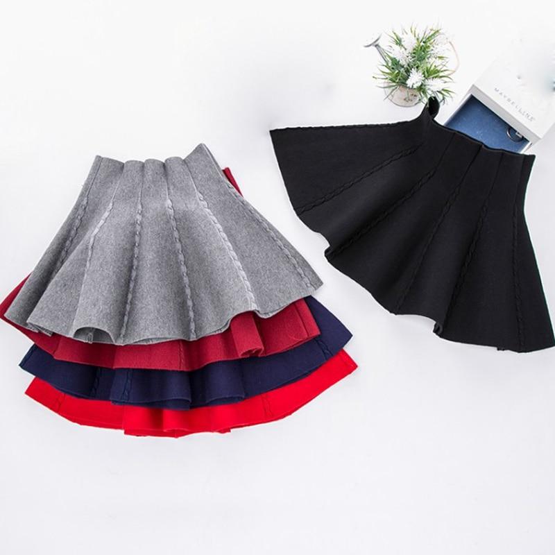 Kids School Uniform Knitted Skirt For Girls Winter Tutu Skirts Pleat Pettiskirt Little Girl Dance Party Miniskirt Girls Clothing