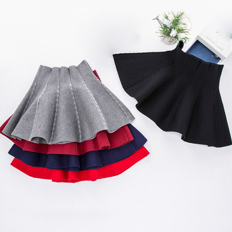 DZIECKO Children's Clothing Girls Fashion Casual Knit Skirt 2018 Autumn Pleated mini Skirt children Girls High Waist Clothing women fashion dress casual solid color chiffon high waist double chiffon short skirt puff pleated big swing half skirt l05