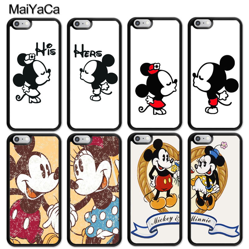 MaiYaCa Lovely Minnie Mickey Mouse Kiss Print Soft TPU Mobile Phone Cases For iPhone 6 6S Plus 7 8 Plus X 5S SE Back Shell Cover