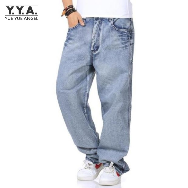 Light Blue Mens Baggy Jeans Retro Harem Pants Zipper Fly Straight Loose Streetwear Denim Trousers Classic Washed Cargo Men Jeans  mens casual blue jeans denim multi pocket loose outdoor straight legs cargo pants