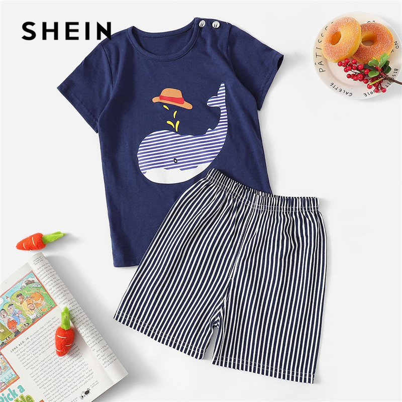 SHEIN Kiddie Toddler Boy Whale Print Tee With Striped Shorts Pajama Set Kids Nightwear 2019 Summer Short Sleeve Casual Sleepwear off the shoulder short sleeve printed crop top elastic waist shorts twinset for women