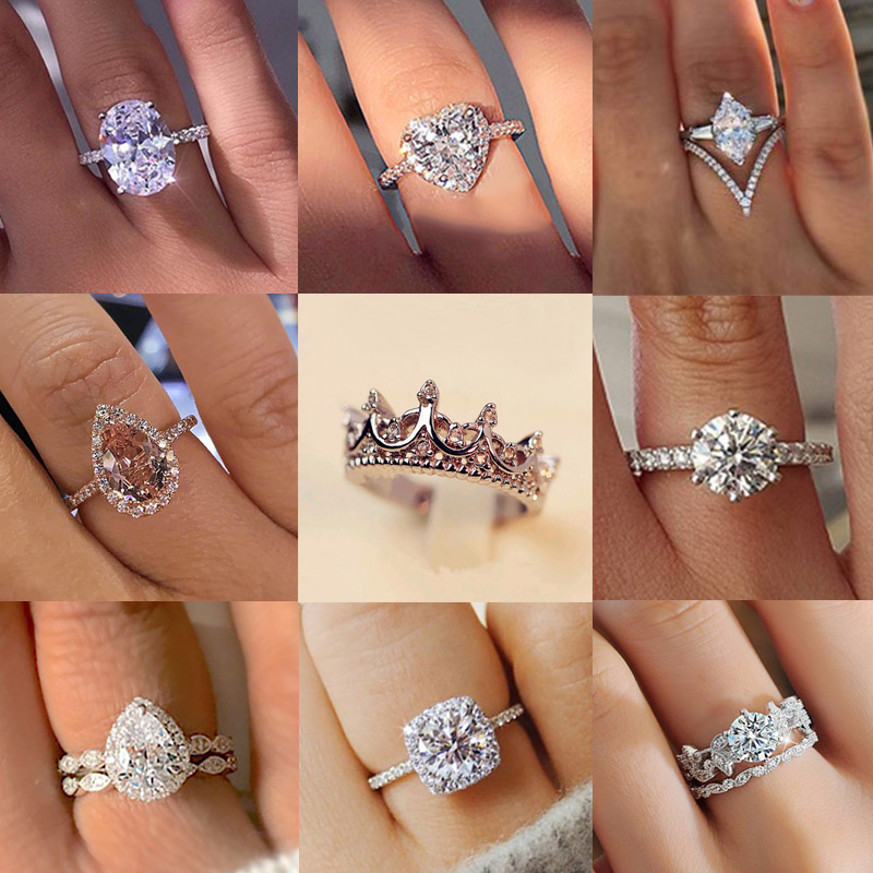 14 Design 2019 New Fashion Crystal Ring For Women Engagement Love Heart Crown Shape Finger Ring Bride Wedding Jewelry Party Gift