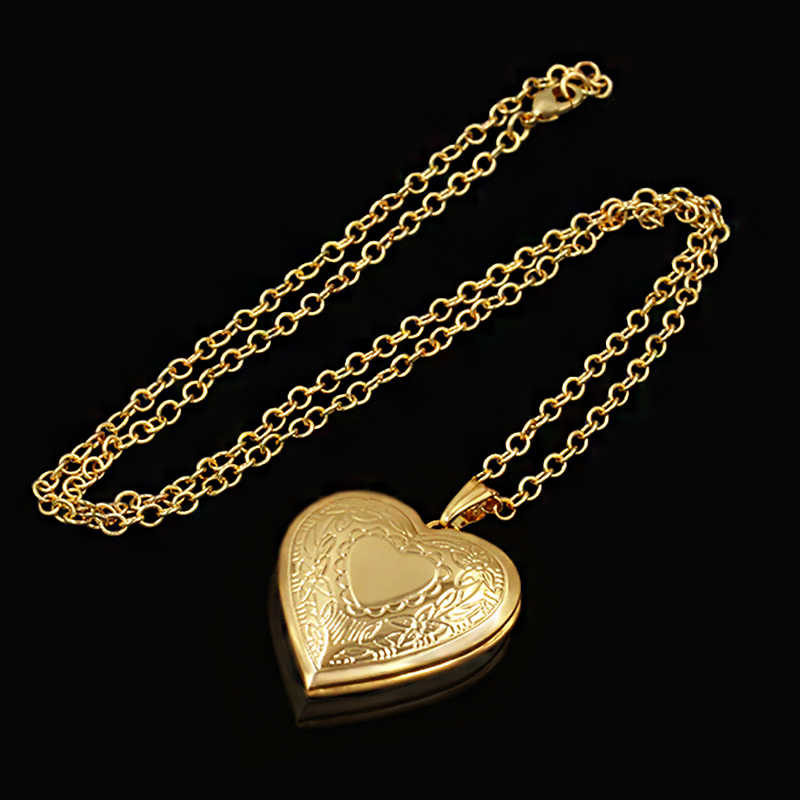 Heart Locket Pendants Necklaces For Women Gold Color photo frame Valentine lovers Necklace 45/66cm Gift Jewelry