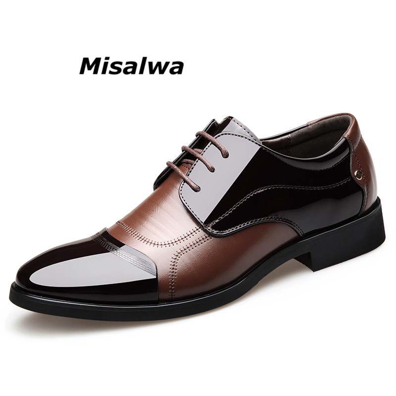 Misalwa Luxury Brand Patent Leather Men Business Wedding Dress Shoes Lace Up Breathable Oxfords Shoes Pointed Toe Zapatos Hombre agsan luxury brand men oxfords business shoes burgundy formal shoes men dress shoes lace up wedding oxfords pointed toe shoes