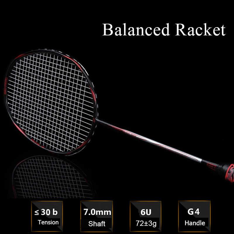 LOKI 6U 72g Strung Badminton Racket Balanced Professional Carbon Badminton Racquet 22-30 LBS free Grips and Sweatband