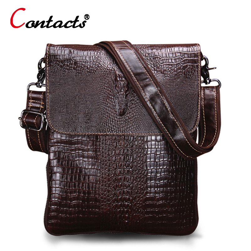 CONTACT'S Men messenger bag designer crocodile pattern Vintage genuine leather bag shoulder Crossbody Bags For Men high quality freeshipping 2016 genuine leather man small bag vintage clutch bag crocodile pattern leather men messenger bags 7267c