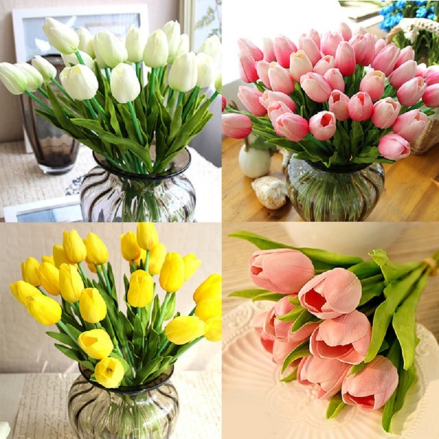 Hot delightful pretty real touch pu tulips flower single