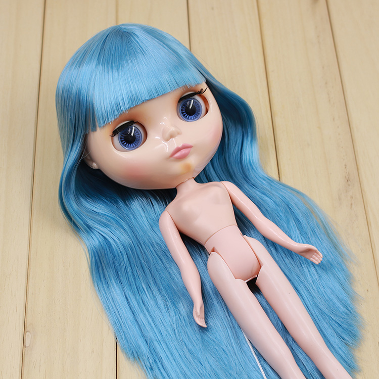Beaukiss Fashion DIY Nude Blyth Doll Blue Long Hair With Bangs Doll Toys Gifts
