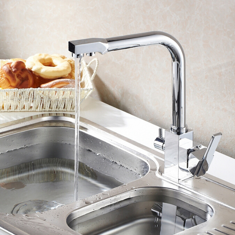Kitchen Dinking Faucet Three Way Sink Mixer Tap Water Filter Kitchen Faucet  3 Way Kitchen Faucet Sink Mixer Water In Kitchen Faucets From Home  Improvement ...