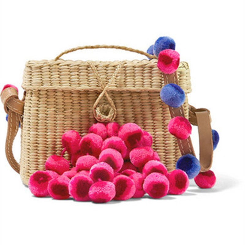Handmade Female Straw Bag Color Ball Women Summer Beach Bag Cover Basket Shape For Travel Lined with Handmade Drawstring Bag stylish gauze flower decorated solid color beach straw hat for women