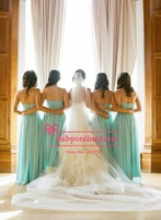 High Quality Hot Sweetheart Ruched Blue Bridesmaid Dress Long Formal Dresses 2014 Floor Length Free Shipping