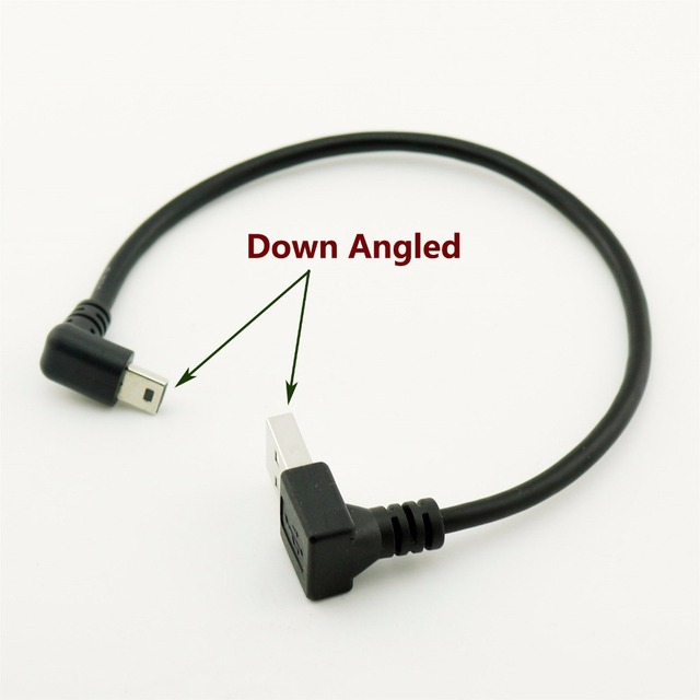 1pcs USB 2.0 Type A Male Down Angle to Mini USB 5 Pin B Male Down Angled 90 Degree Data Charger Adapter Cable Cord 25cm