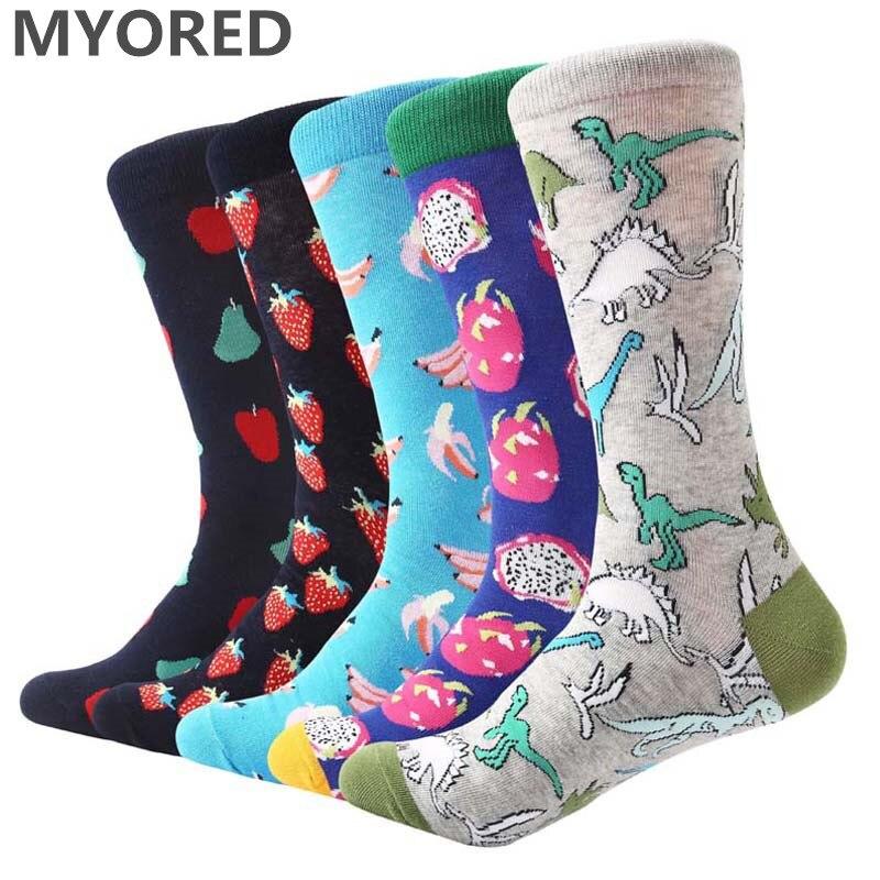 MYORED 5 pair/lot Men Socks funny dinosaur colorful wedding socks combed cotton fruit pattern mens dress Calcetines de hombre
