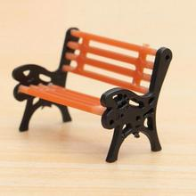 1 Pcs Resin Crafts Modern Park Benches Miniature Fairy Garden Miniatures Accessories Toys for Doll House Courtyard Decoration