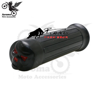 Decals For Motorcycle   Top Quality Scooter Skull Black CNC Skeleton Head Decal Retro Motorbike Handle Grips Motorcycle Handlebar For Harley Moto Grip