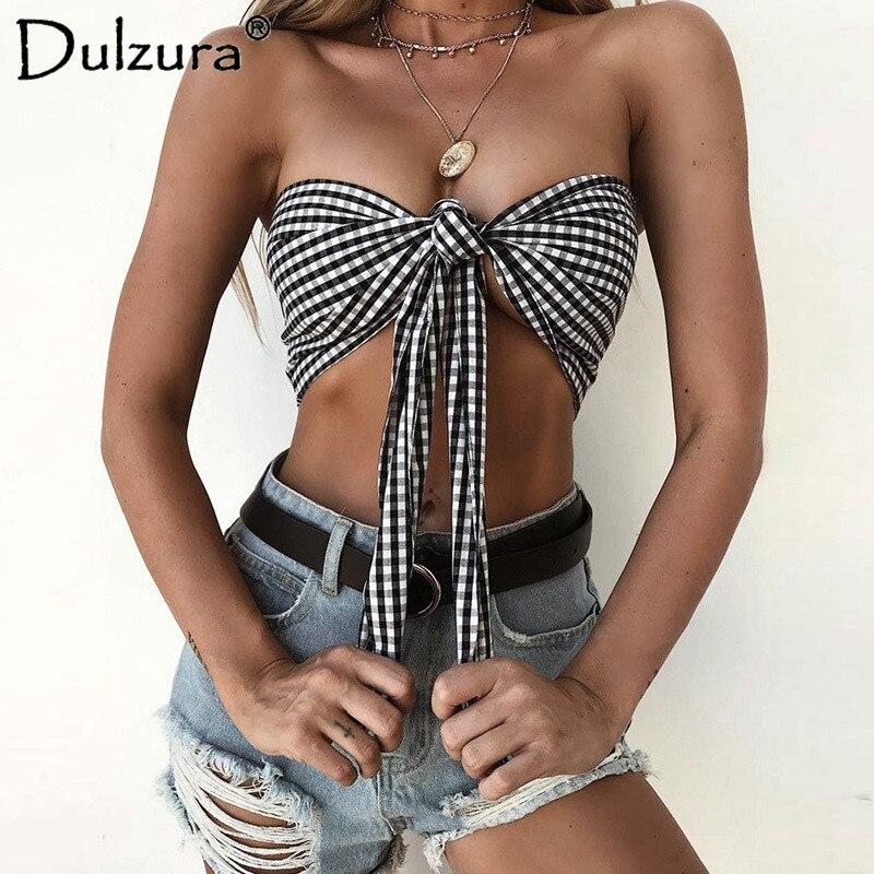 Dulzura plaid check boob tube top bow tie 2018 summer autumn women sexy sleeveless off shoulder crop tank top