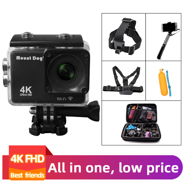 Ir pro acessórios ultra hd 4 k esporte ação câmera de vídeo wi fi 30fps 170d à prova dwaterproof água cam cabeça cinta peito cinto câmera gravador
