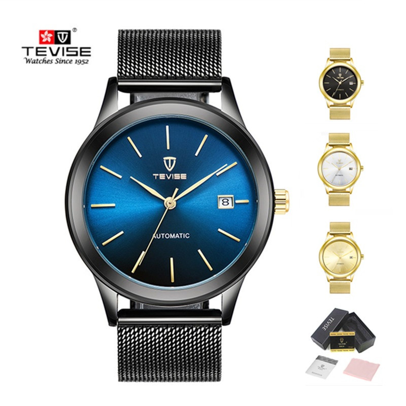 TEVISE watch men mechanical automatic mens stainless steel date watches waterproof ultra thin watches for men reloj mujer 2017 tevise men automatic self wind gola stainless steel watches luxury 12 symbolic animals dial mechanical date wristwatches9055g