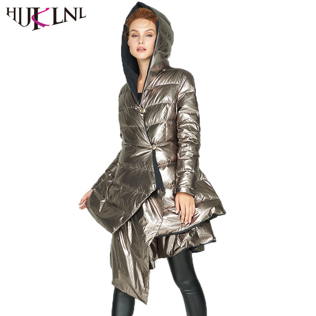 HIJKLNL Women Winter Long Thick Duck Down Jacket Fashion Double ...