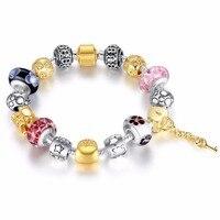 Heart Key Charm Bracelet Women Gold Silver Beads Bracelets Bangles For Female Diy Jewelry PA1816